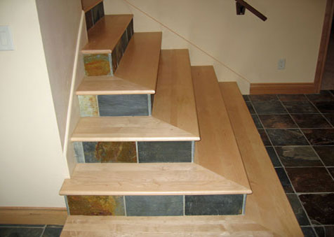 Maple Stair Treads with Tile Risers, Classic Hardwood Floors, Missoula, MT