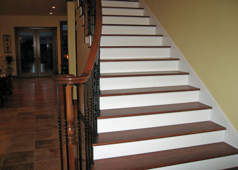 Stained Yellow Birch, Stair Treads, Classic Hardwood Floors, Missoula, Montan